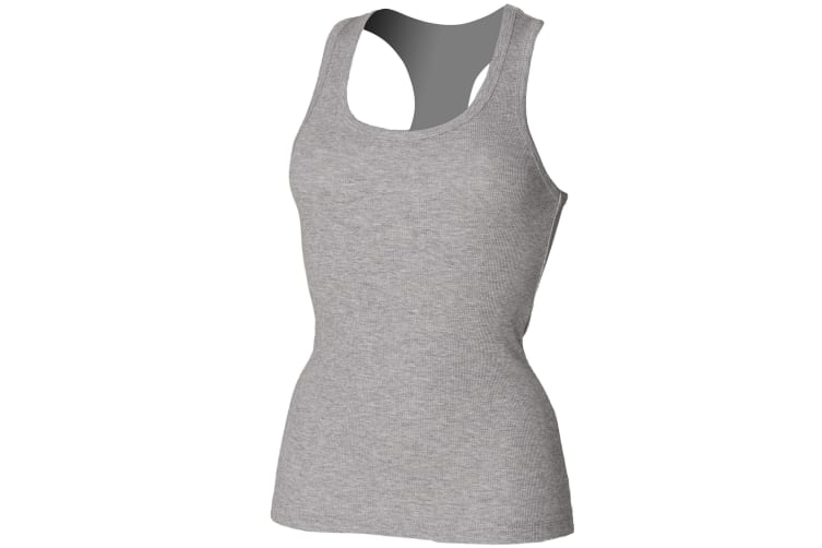 Skinni Fit Essential Longer Length Rib Vest Top (Heather Grey) (M)
