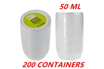 200 X Plastic 50ML Dipping Sauce Disposable Small Container Cups Lids Takeaway