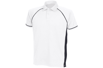 Finden & Hales Mens Piped Performance Sports Polo Shirt (White/Black/Black)