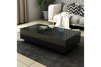 Modern Coffee Table 4-Drawer Storage Shelf High Gloss Wood Living Room Furniture - Black