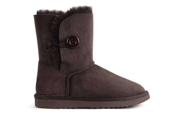 Outback Ugg Boots Short Button - Premium Sheepskin (Chocolate, 11M / 12W US)