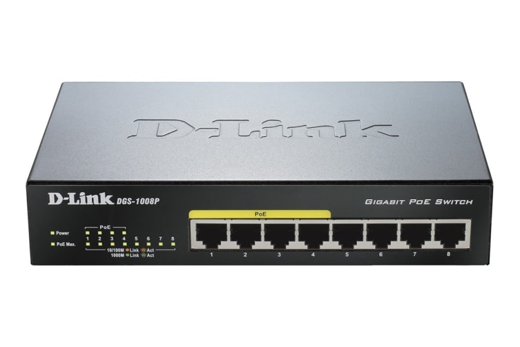 D-Link 8-Port Gigabit PoE Unmanaged Switch with Metal Housing (DGS-1008P)