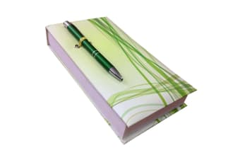 Lines In Green Notepad With Pen