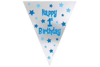 Amscan 1st Birthday Pennant Banner (Silver/Blue) (One Size)
