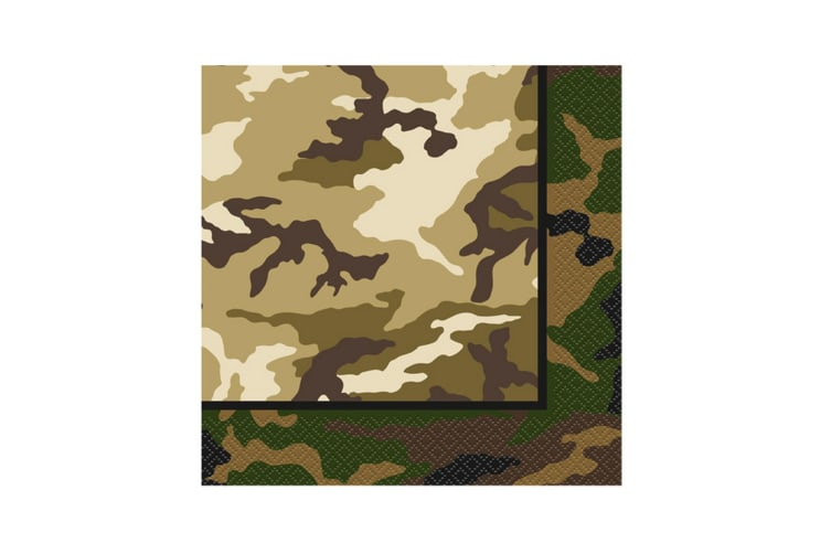 Unique Party Military Camo Lunch Napkins (Pack Of 16) (Multicoloured) (One Size)