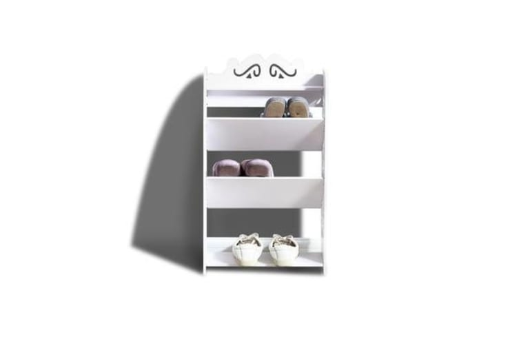 4 Tiers Tilt White Chic Hollow Out Shoe Rack