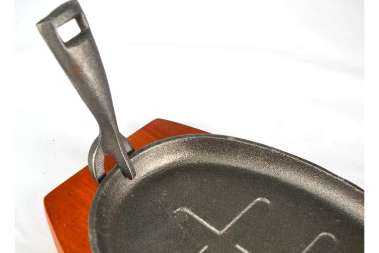 Cast Iron Sizzle Steak Plate Grill Pan With Wooden Base