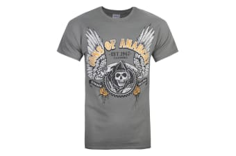 Sons Of Anarchy Official Mens Winged Logo T-Shirt (Charcoal)