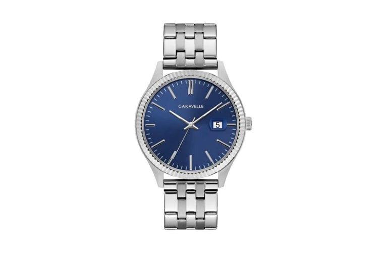 Caravelle Men's 40mm Analog Quartz Watch with Date - Stainless Steel/Blue (43B151)