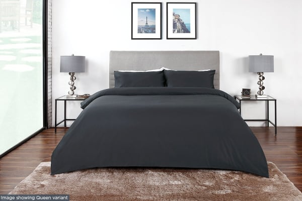 Ovela 400TC 100% Bamboo Quilt Cover Set (Single, Charcoal)