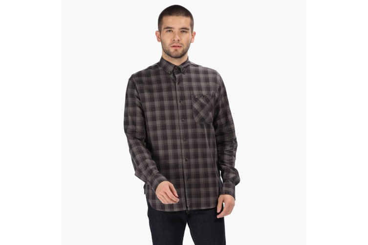 Regatta Great Outdoors Mens Lazare Long Sleeve Checked Shirt (Briar/Black) (XXL)