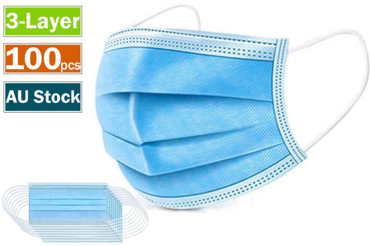 100pcs 3 Layer Disposable Face Mouth Mask with Elastic Ear Loop