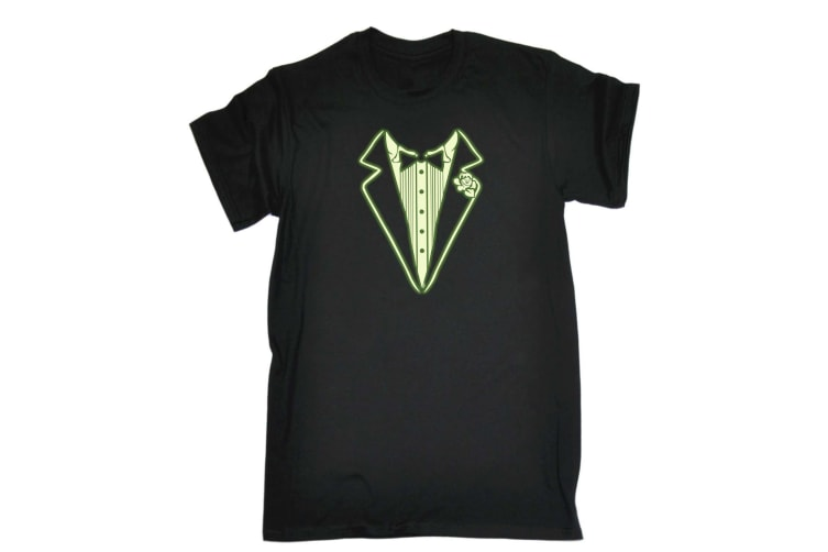 123T Funny Tee - Tuxedo Glow In The Dark - (Large Black Mens T Shirt)