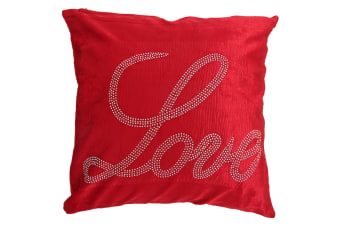 Panache Love Sparkle Design Cushion Cover (Cushion Pad Not Included) (Red)