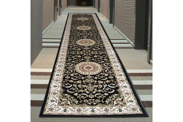 Medallion Runner Black with Ivory Border 400x80cm