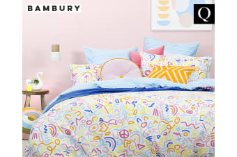 Bambury Sam Reversible 100% Cotton Queen Bed Doona Quilt Cover Set w/Pillow Case