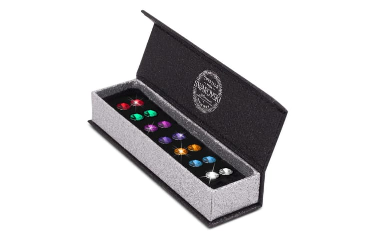 7 Pairs Mult Color Apex Studs Set Embellished with Swarovski crystals