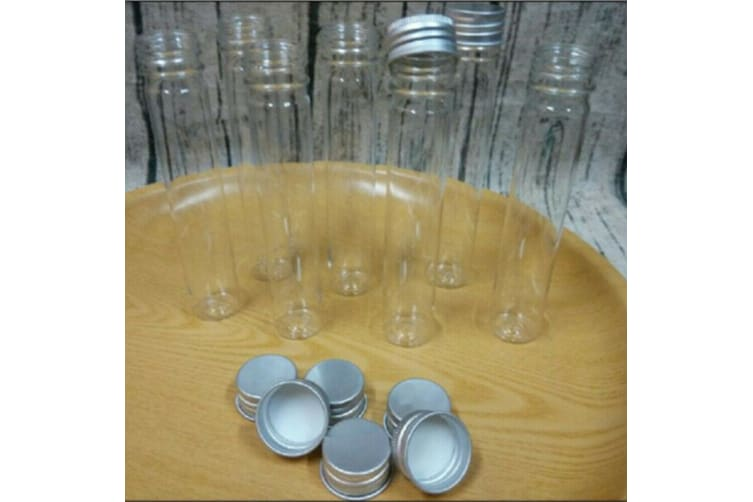 48 x Clear Glass Lab Craft Test Tubes w Aluminium Top Lid Wedding Party Home Favours