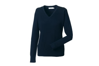 Russell Collection Ladies/Womens V-Neck Knitted Pullover Sweatshirt (French Navy) (M)