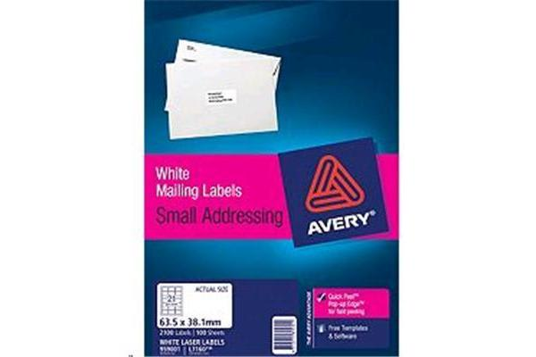 AVERY L7160-100 Addressing Labels - Pop UIp Quick peel - 63.5x38.1mm - 100 Sheets