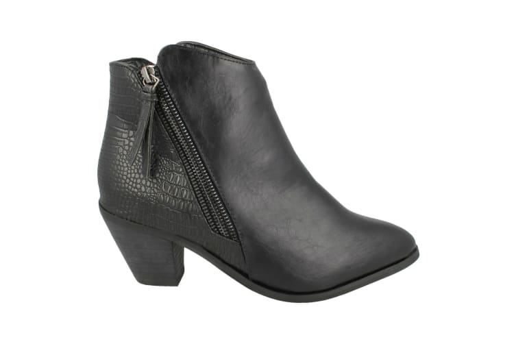 Spot On Womens/Ladies Heeled Zip Up Ankle Boots (Black Snake) (7 UK)