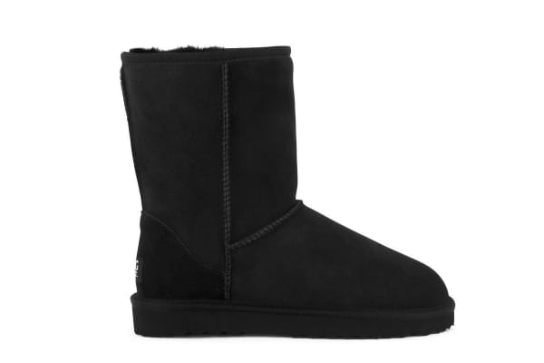 Outback Ugg Boots Short Classic - Premium Sheepskin (Black, Size 10M / 11W US)