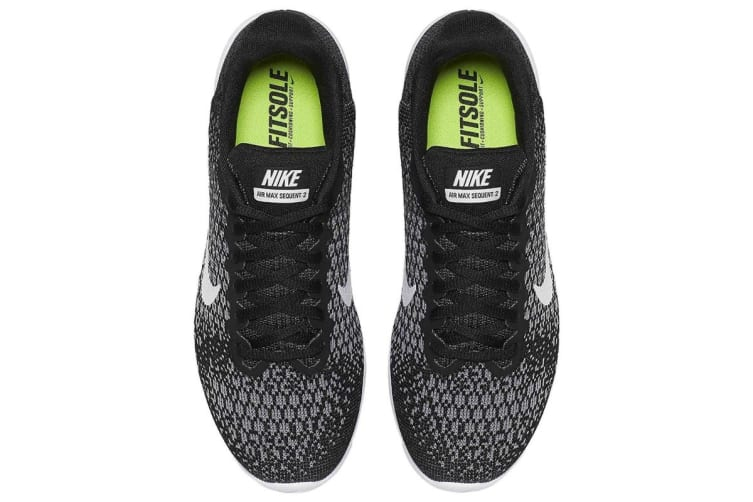 Nike Women's Air Max Sequent 2 Running Shoe (Black/Dark Grey/White, Size 6.5)