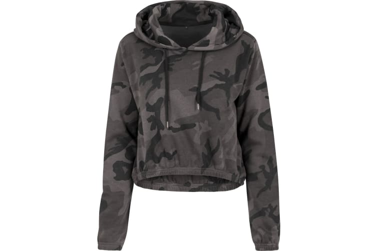 Build Your Brand Womens/Ladies Camo Cropped Hoodie (Dark Camo) (L)