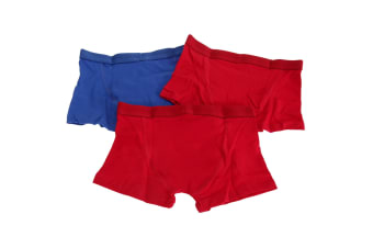 Kids By Tom Franks Boys Cotton Trunks (Pack Of 3) (Red / Blue) (2/3 Years)