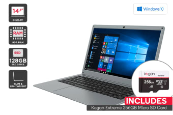 "Kogan Atlas 14.1"" N500 Laptop (8GB, 128GB SSD) + 256GB Micro SD Card Bundle"