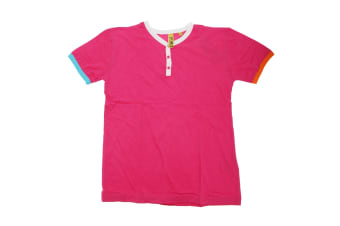 Unisex Boys/Girls Short Sleeve T-Shirt With Colour Piping (Pink) (13 Years)