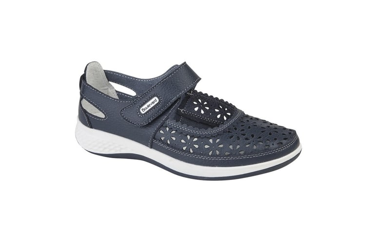 Boulevard Womens/Ladies Wide Fitting Window Back Punched Bar Shoes (Navy) (7 UK)