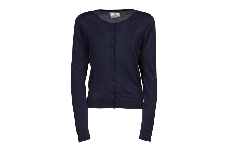 Tee Jays Womens/Ladies Knitted Button Up Cardigan (Navy Blue) (L)