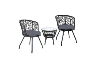 Gardeon Outdoor Patio Chair and Table (Black)