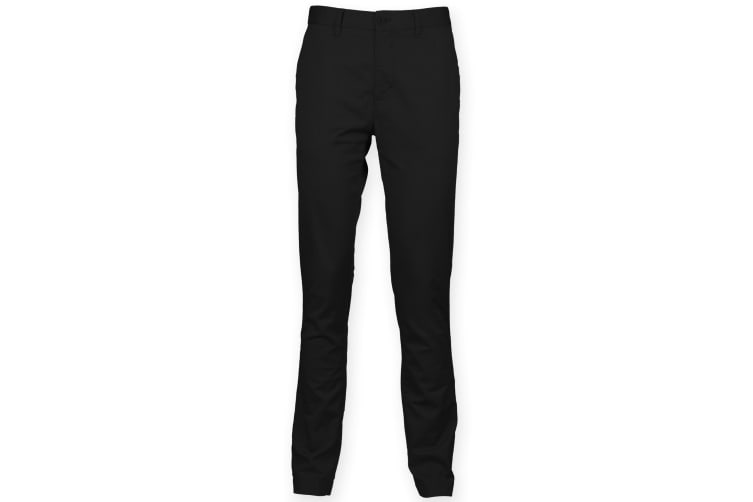 Front Row Mens Cotton Rich Stretch Chino Trousers (Black) (38L)