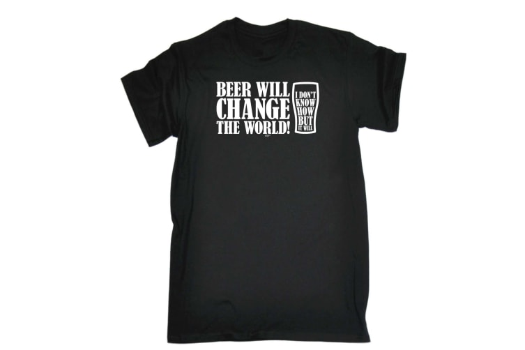 123T Funny Tee - Beer Will Change The World - (XX-Large Black Mens T Shirt)