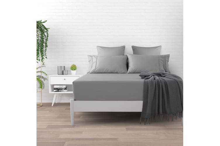 500 TC Cotton Sateen Fitted Sheet Double Bed - Platinum