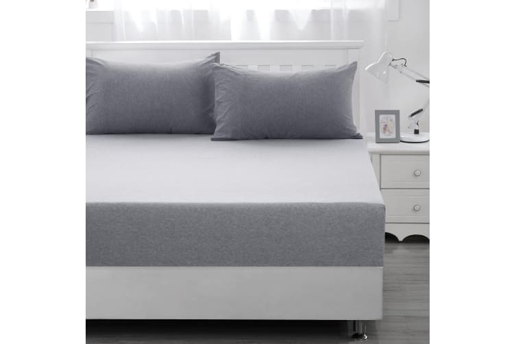 Dreamaker cotton jersey fitted sheet marle grey King Bed