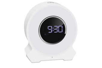 WJS Alarm Clock Wake-up Light Wireless Audio Pat Light Night Light Colorful LED Bluetooth Speaker Light Touch Card Speaker-White