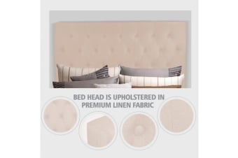 King Size Headboard with Diamond Design in Beige