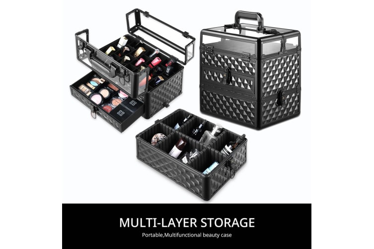 Professional Beauty Makeup Case Box Bags 2 Tiers Cosmetic Organiser Transparent Cover Diamond Black