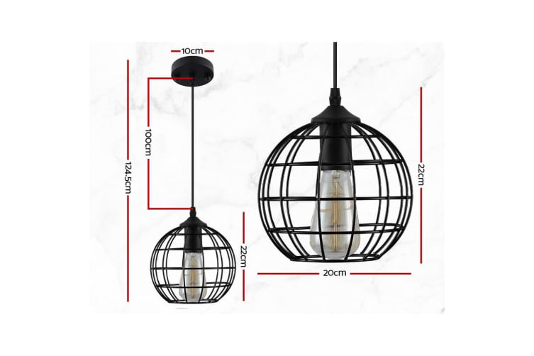 Artiss Pendant Light Modern Ceiling Lighting Metal Caged Wire Lamp Home Black