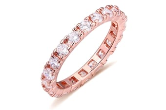 Wide Paradise Ring-Rose Gold/Clear Size US 6