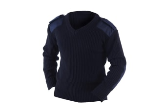 Yoko Mens V-Neck NATO Security Sweater / Workwear (Navy Blue) (4XL)