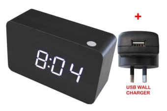 White Led Wooden Alarm Clock Temp Display + Usb Wall Charger Wood Black 6030