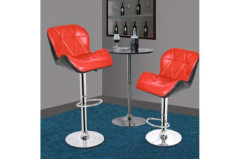 2x PU Leather Swivel Bar stool Kitchen Dining Chair Barstool Gas Lift Adjustable RED
