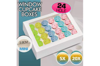 24 Mini Holes Cupcake Boxes 5 Pk Window Face With Inserts Cake Boxes Board