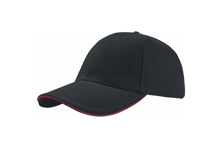Atlantis Liberty Sandwich Heavy Brush Cotton 6 Panel Cap (Pack of 2) (Black/Red) (One Size)