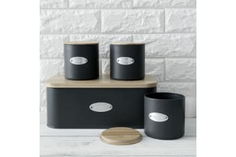 Sherwood Bread Box & Canister Set With Natural Bamboo Lids