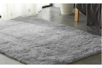 New Designer Shaggy Floor Rug GREY 80x120cm